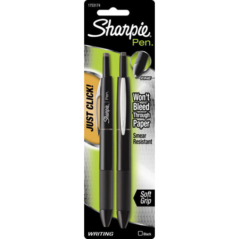 Sharpie Pen - Retractable - Black - 2 pieces