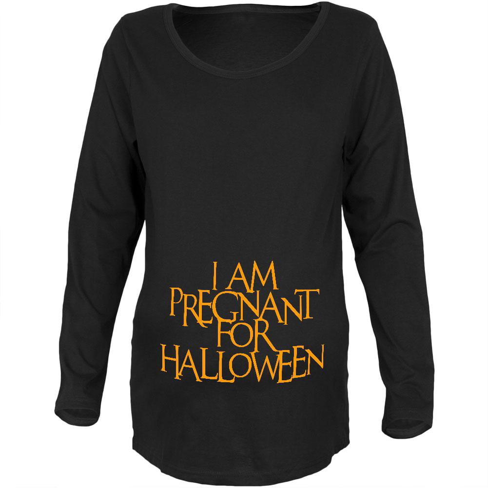 Pregnant for Halloween Black Maternity Soft T-Shirt