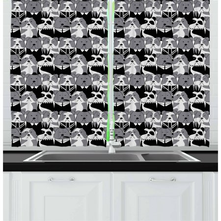 European Living Room - Bulldog Curtains 2 Panels Set, Pattern with English Bulldog European Gentleman and Punk Characters, Window Drapes for Living Room Bedroom, 55W X 39L Inches, Grey Black and Pale Grey, by Ambesonne