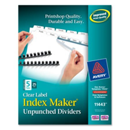 Avery Consumer Products AVE11443 Index Maker- Laser- Unpunched- 5-Tab- White- (Unpunched Index Maker)
