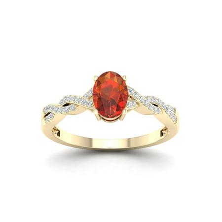 Madeira Citrine Gemstone - Imperial Gems 10K Yellow Gold Oval Cut Madeira Citrine 1/10 CT TW Diamond Women's Fashion Ring