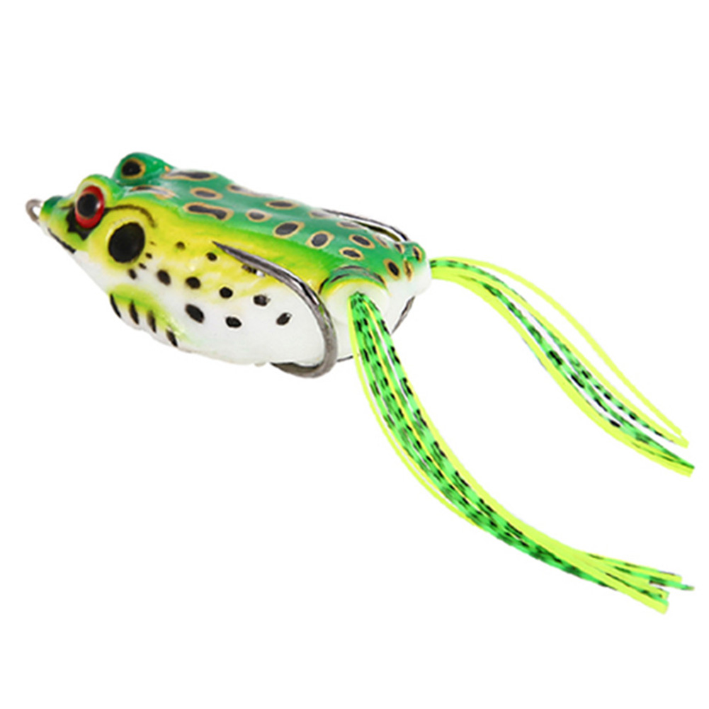 5pcFrog Kit Topwater Soft Frog Rubber Fishing Lure Crankbait Bait Tackle Bass