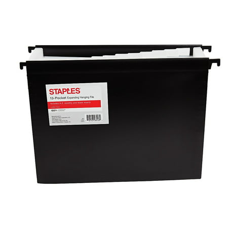 Staples Poly Expanding Hanging File Folder Jan-Dec Index Letter 12 Pocket Blk 535534 Expanding File Jan Dec Tabs