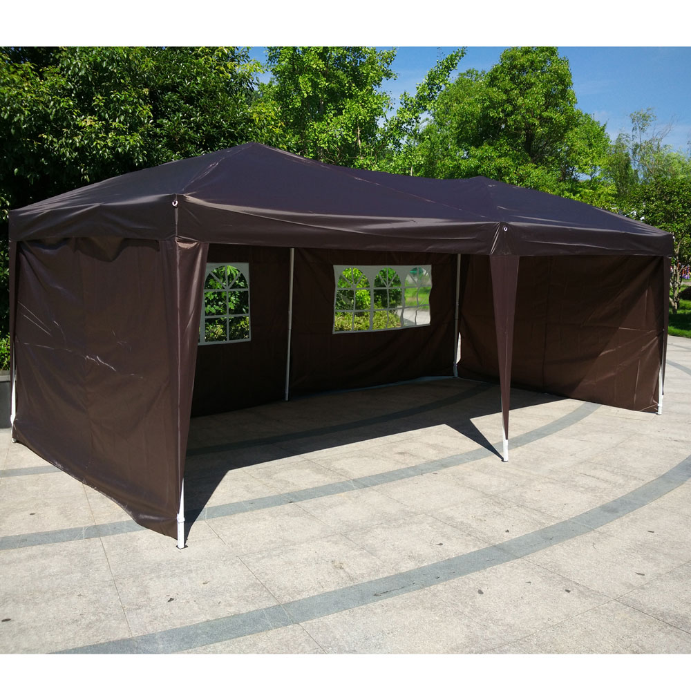 Zimtown 10' X 20' EZ POP UP Wedding Party Tent Folding Gazebo Beach Canopy W/4 Side Wall