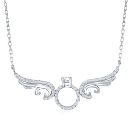 Engagement Silver Necklace (Sterling Silver High Polish Cubic Zirconia Angel W/ Engagement Center Ring 16+2'')