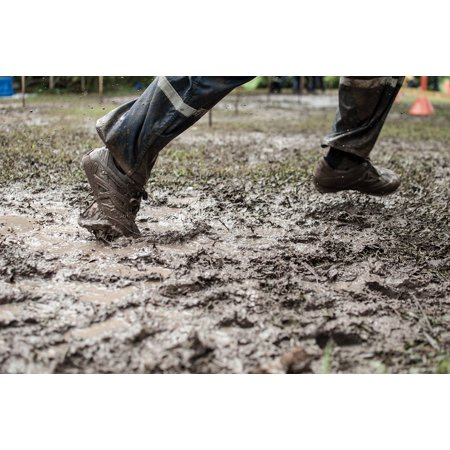 Canvas Print Feet Dirt Rain Water Training Shoes Run Stretched Canvas 10 x 14