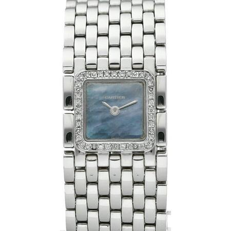 Cartier Panthere Ruban 2420 Steel Diamond MOP Dial Swiss Quartz Women's Watch