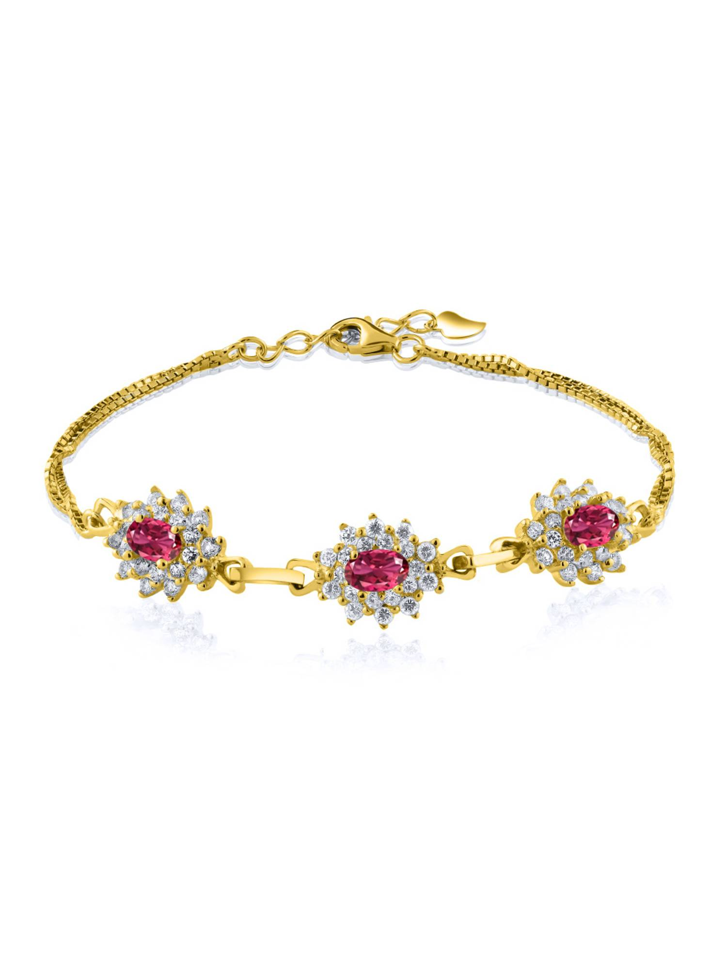 2.25 Ct Oval Pink Tourmaline 18K Yellow Gold Plated Silver Bracelet by