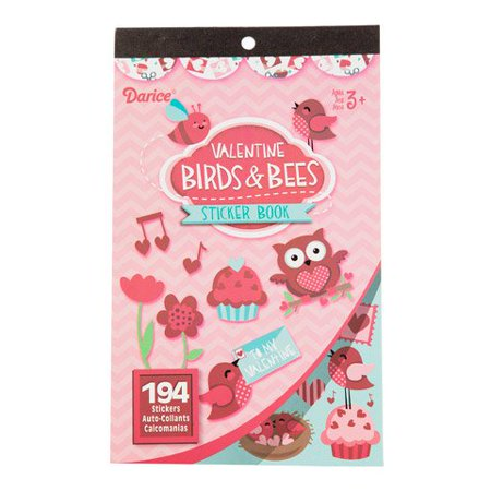 Darice Valentine Sticker Book For Kids - Valentine Birds & Bees - 194 Stickers