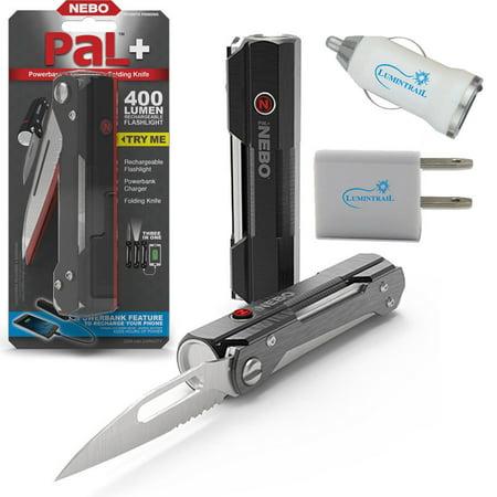 Nebo 6715 Pal+ 400 Lumen Flashlight Multi-tool + Lumintrail USB Wall & Car Plugs ()