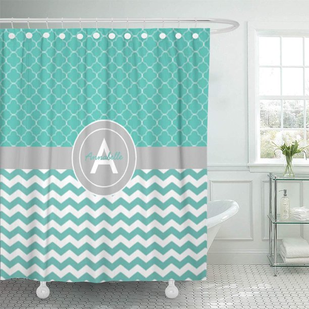 CYNLON Grey Teal Gray Chevron Zigzag Patterned Monogram ...