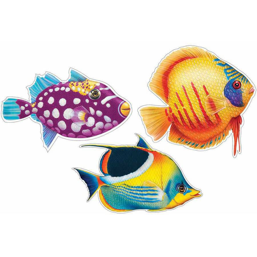 Luau Tropical Fish 2-Sided Assorted Cutout