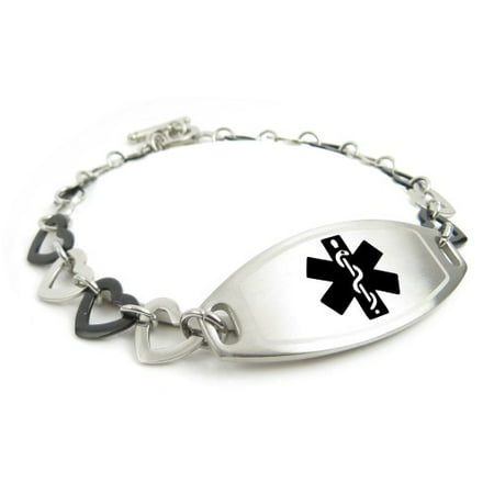 rose extra provided proper also womens steel ip pre bracelet links be tools engraved medical hearts are adjusted myiddr alert can with black hemophilia