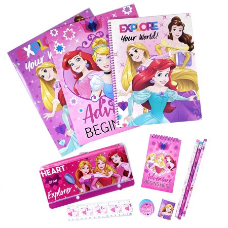 Disney Princess Girls Stationery Set Folders Pencils Notepad 11pc