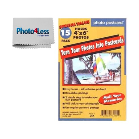 Exclusive Package! Pack of 15 Freez A Frame Photo Postcards 4x6 Turn Your Photos Into Post Cards + Includes Photo4less Cleaning Cloth!