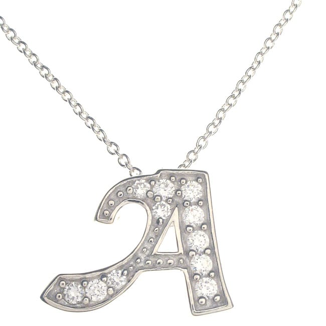 Journee Collection Journee Sterling Silver Initials CZ High Polish Pendant