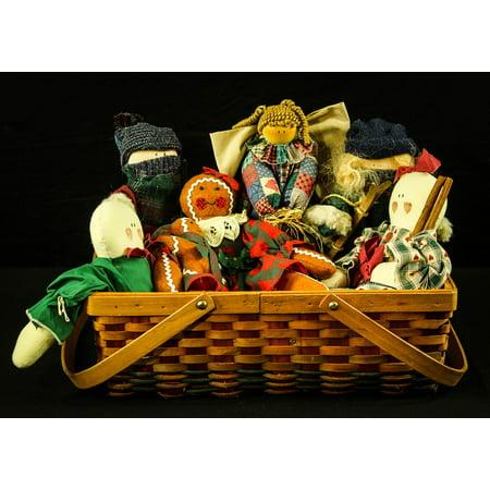 - Framed Art for Your Wall Rag Dolls Toys Folk Art Primitive Dolls Basket 10x13 Frame