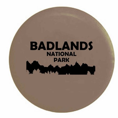 - Badlands National Park South Dakota Trailer RV Spare Tire Cover Vinyl Tan-BlackInk 33 in