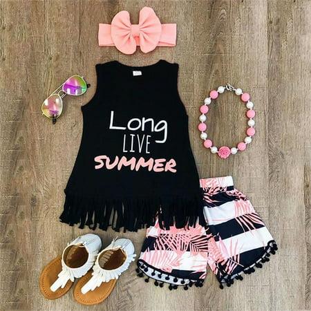 Summer Baby Kids Girls Toddler Tassel Tank Top Vest + Short Pants + Bowknot Headband 3PCS Outfits Clothes Set 1-2