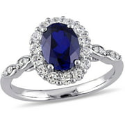 2-5/8 Carat T.G.W. Created Blue Sapphire, White Topaz and Diamond-Accent 14kt White Gold Vintage Engagement Ring