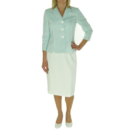 New  1185-2 Le Suit Womens Teal Blue White Textured Yacht Club Skirt Suit 8 $200 (Club Suit)