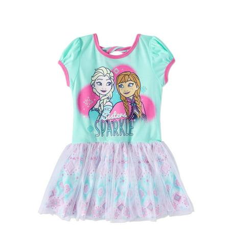 Frozen Toddler Girl Open Back Short Sleeve Tulle Dress - Frozen Dreas