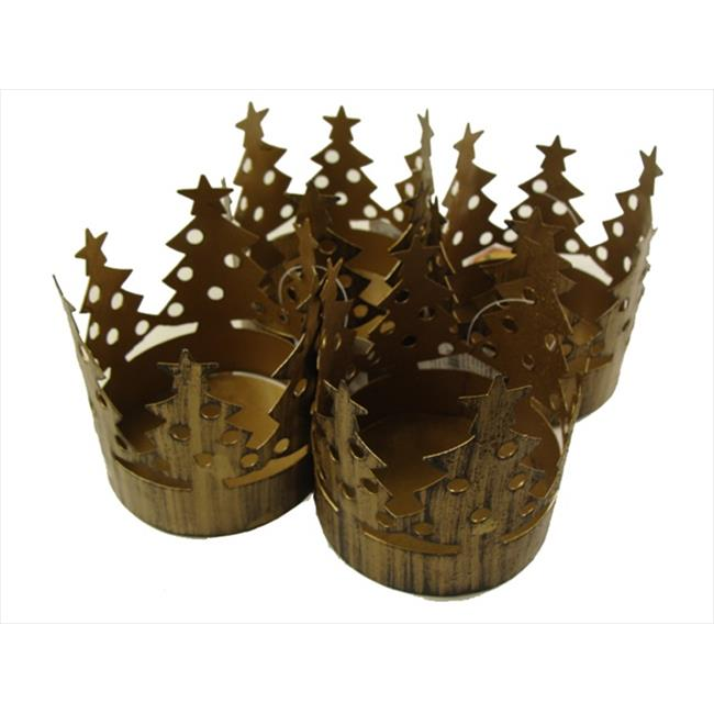 NorthLight Club Brass Christmas Tree Pillar Candle Holders, Pack - 72