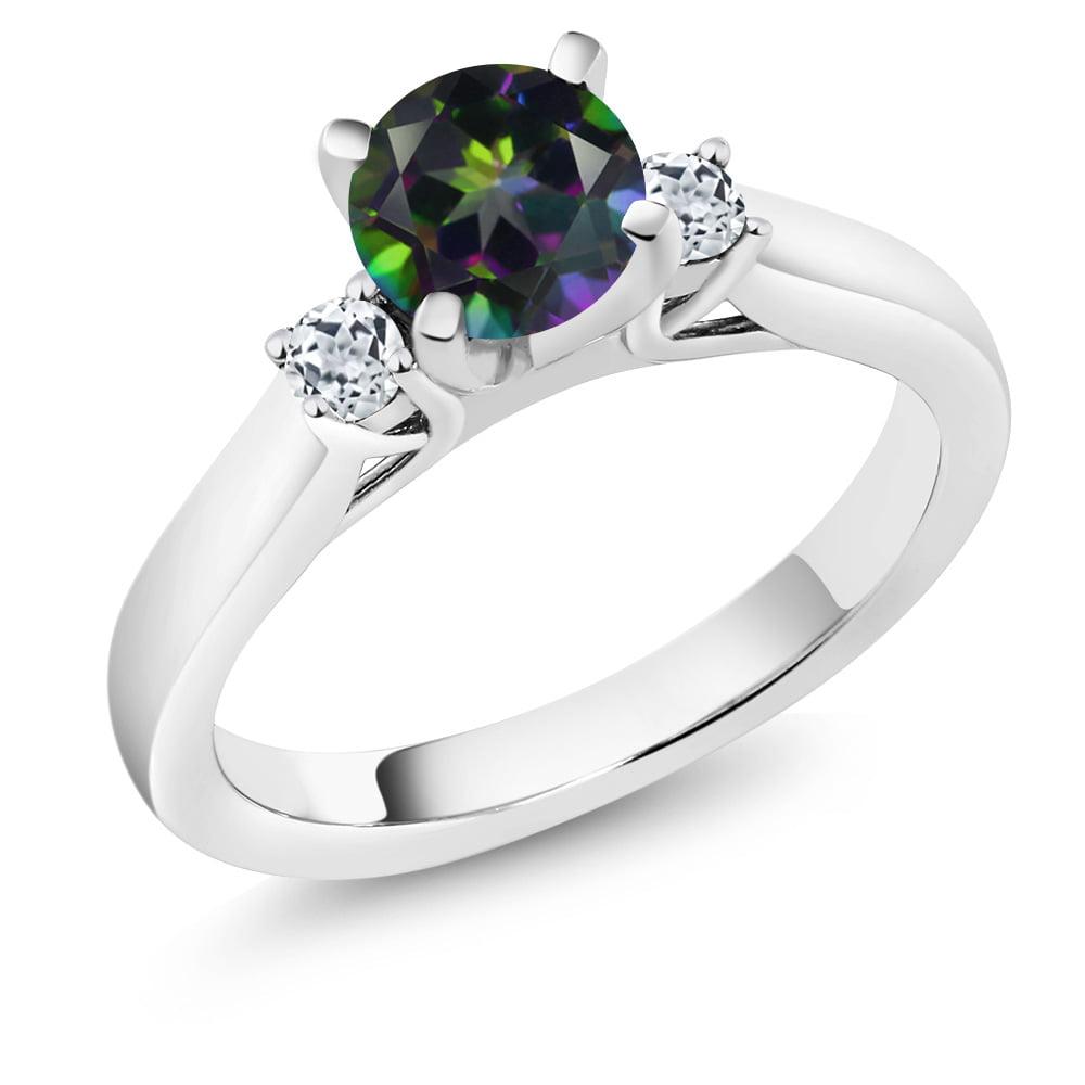 1.28 Ct Round Green Mystic Topaz White Topaz 14K White Gold 3-Stone Ring