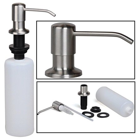 stainless steel built in pump kitchen sink dish soap dispenser, large  capacity 17 oz bottle, 3.15 inch threaded tube for thick deck installation