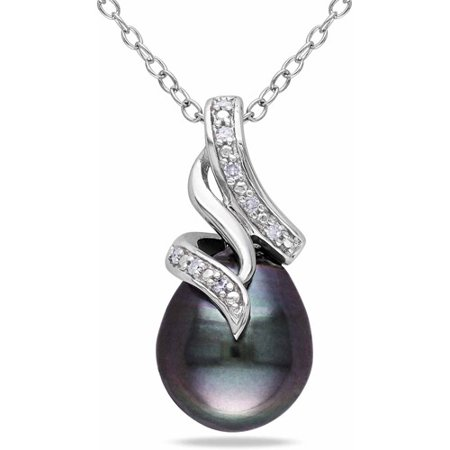 Tahitian Pearl Diamond Necklace - 9-9.5mm Black Drop Tahitian Pearl and Diamond Accent Sterling Silver Swirl Pendant, 18
