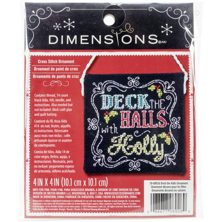 "Dimensions Deck The Halls Ornament 4"" x 4"" Counted Cross-Stitch Kit, 1 Each"