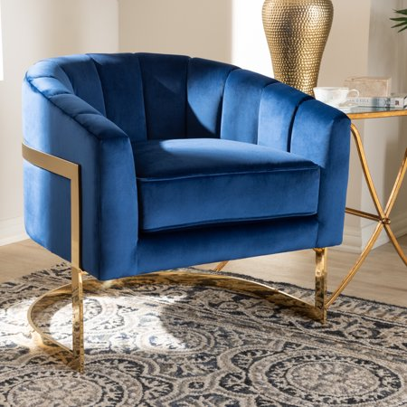 Baxton Studio Tomasso Glam Royal Blue Velvet Fabric Upholstered Gold-Finished Lounge Chair