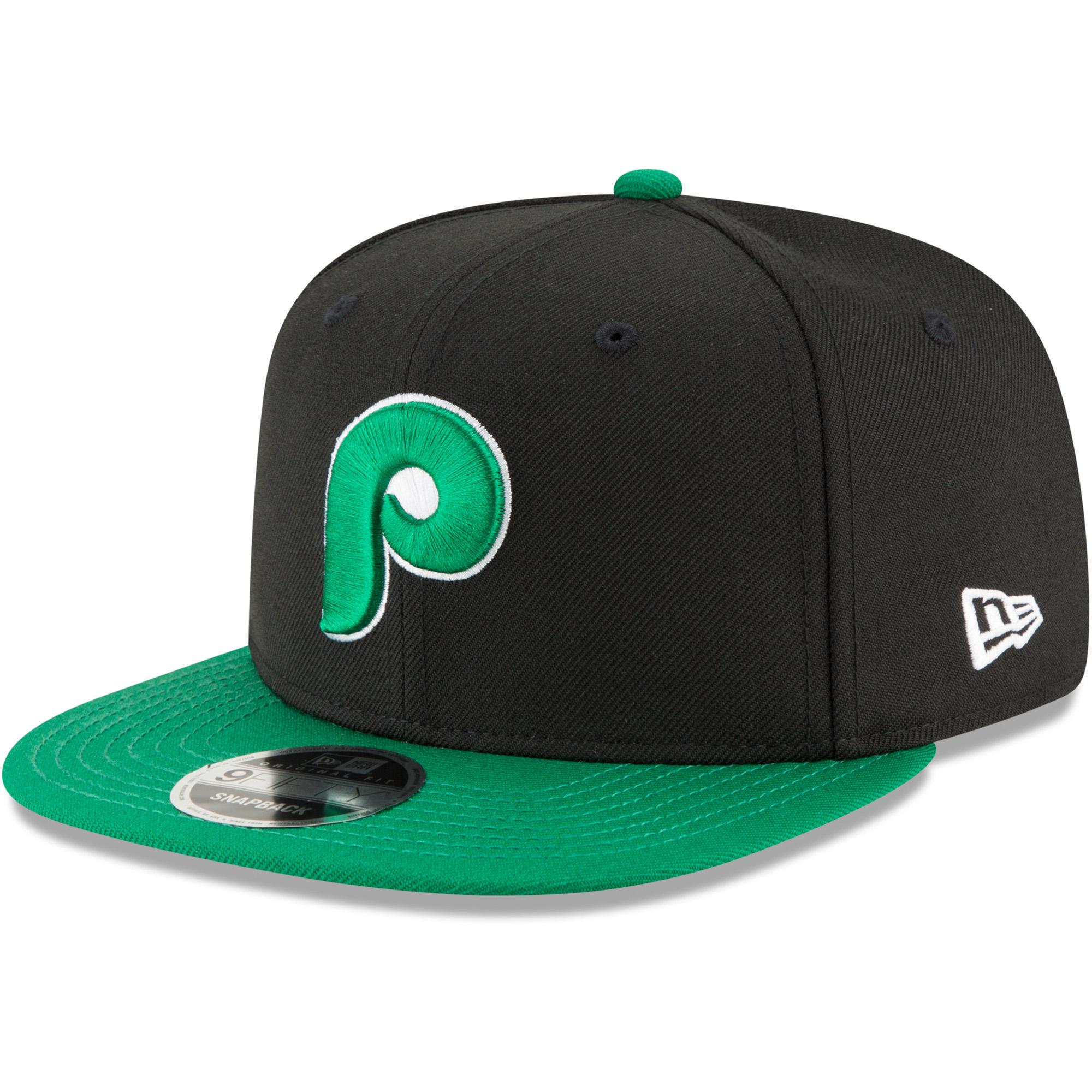 Philadelphia Phillies New Era Crossover 9FIFTY Snapback Adjustable Hat - Black/Kelly Green - OSFA