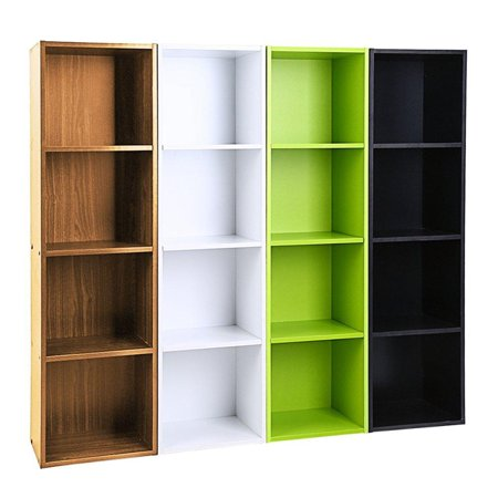 4 Layers Bookcase Storage Shelf Rack ?Only Green? - Flat Book Storage Display Decorative Box Stand - Cube Unit Organizer - Easy Assembly - Home Living/ Dining Room/ Bedroom/ Office Bookcase Library Display Unit