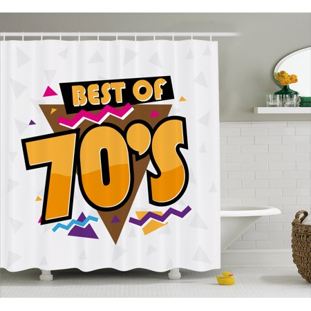 70s Party Decorations Shower Curtain, Party Time 70s Music Theme Retro Fashion Vibrant Joyful Triangles, Fabric Bathroom Set with Hooks, 69W X 70L Inches, Multicolor, by - 70s Theme Party Decorations