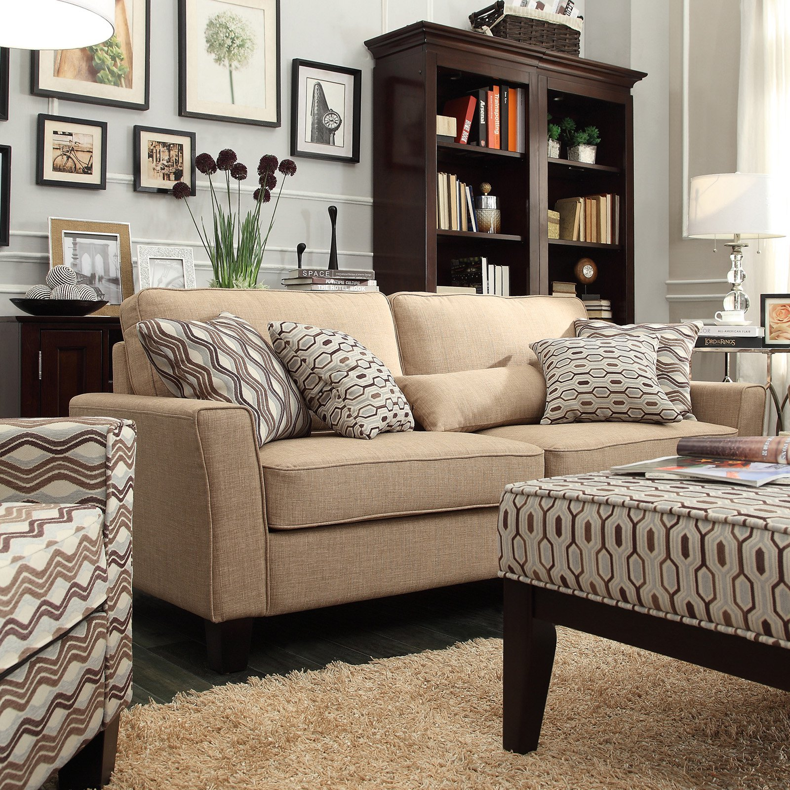 Chelsea Lane Upholstered Sofa - Light Brown