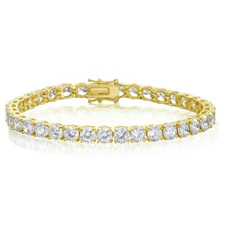 CZ Tennis Bracelet Round Cut 5mm Gold Plated Brass 7.25 inch