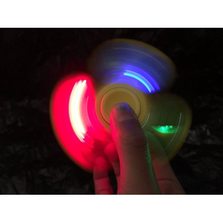 Light Up LED Fidget Spinner Toy Stress Reducer Perfect Autism Adult Children (Color May Vary)