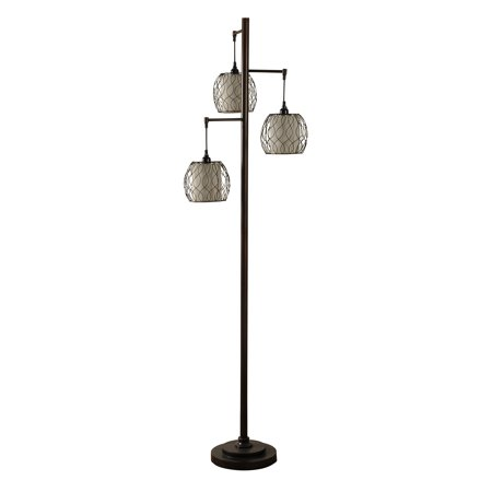 Stylecraft clifton mid modern lamp post bronze floor lamp w woven stylecraft clifton mid modern lamp post bronze floor lamp w woven caged shades aloadofball Gallery