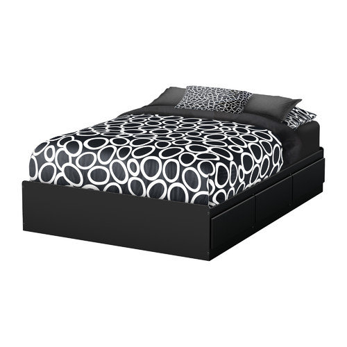 "South Shore Little Treasures Full Mates Bed (54"") with 3 Drawers-Finish:Black"