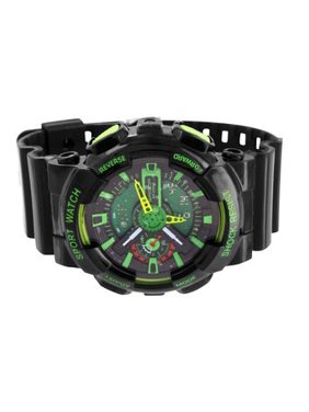 Product Image Mens Black Green Sports Watch Shock Resistant Digital Analog Special Edition
