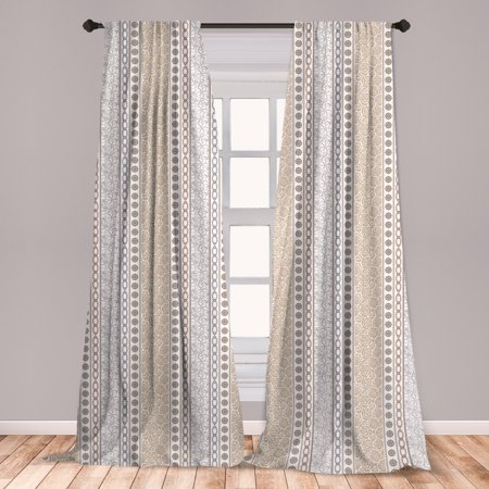 Rose Curtains 2 Panels Set, Vintage Vertical Borders with Abstract Blossoms and Classical Victorian Motifs, Window Drapes for Living Room Bedroom, Grey Tan and White, by Ambesonne ()