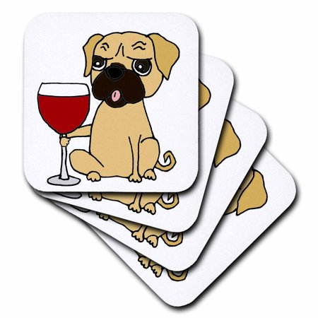 3dRose Funny Cute Pug Dog Drinking Glass of Red Wine - Ceramic Tile Coasters, set of 4