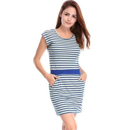 Unique Bargains Women's Sleeveless Stripes Ribbed Waist Unlined Casual - Unique Dress Websites