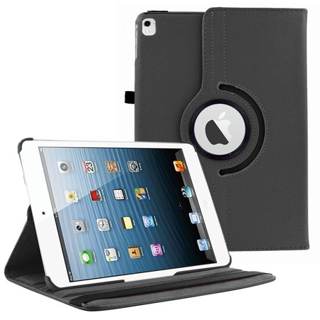 iPad Pro 9.7 (2016) Case by KIQ 360 PU Leather Swivel Case Rotating Fitted Slim Cover Multi-View For Apple iPad PRO 9.7 2016, Black
