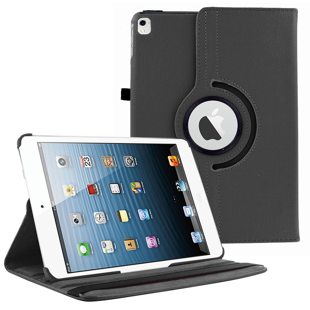 iPad Pro 12.9 (1st Generation) Case by KIQ 360 PU Leather Swivel Case Rotating Fitted Slim Cover Multi-View For Apple iPad PRO 12.9 (1st Gen) 12.9-inch, Black