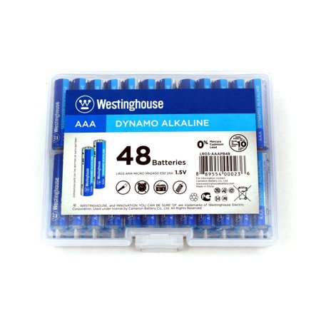 Westinghouse Dynamo Alkaline AAA Batteries in Reusable Plastic Case (48 Count)