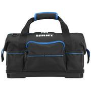 HART 16-inch Hard Bottom Tool Bag, Waterproof Base, Black and Blue