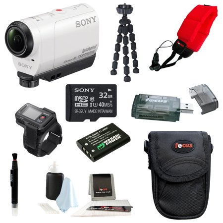 Sony Hdr Az1 Pov Hd Camcorder  White  With Live View Remote Watch   Replacement En El11 Battery And 32Gb Deluxe Accessory Kit