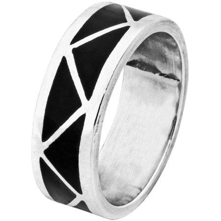 Black Onyx Inlay - Silver Ring